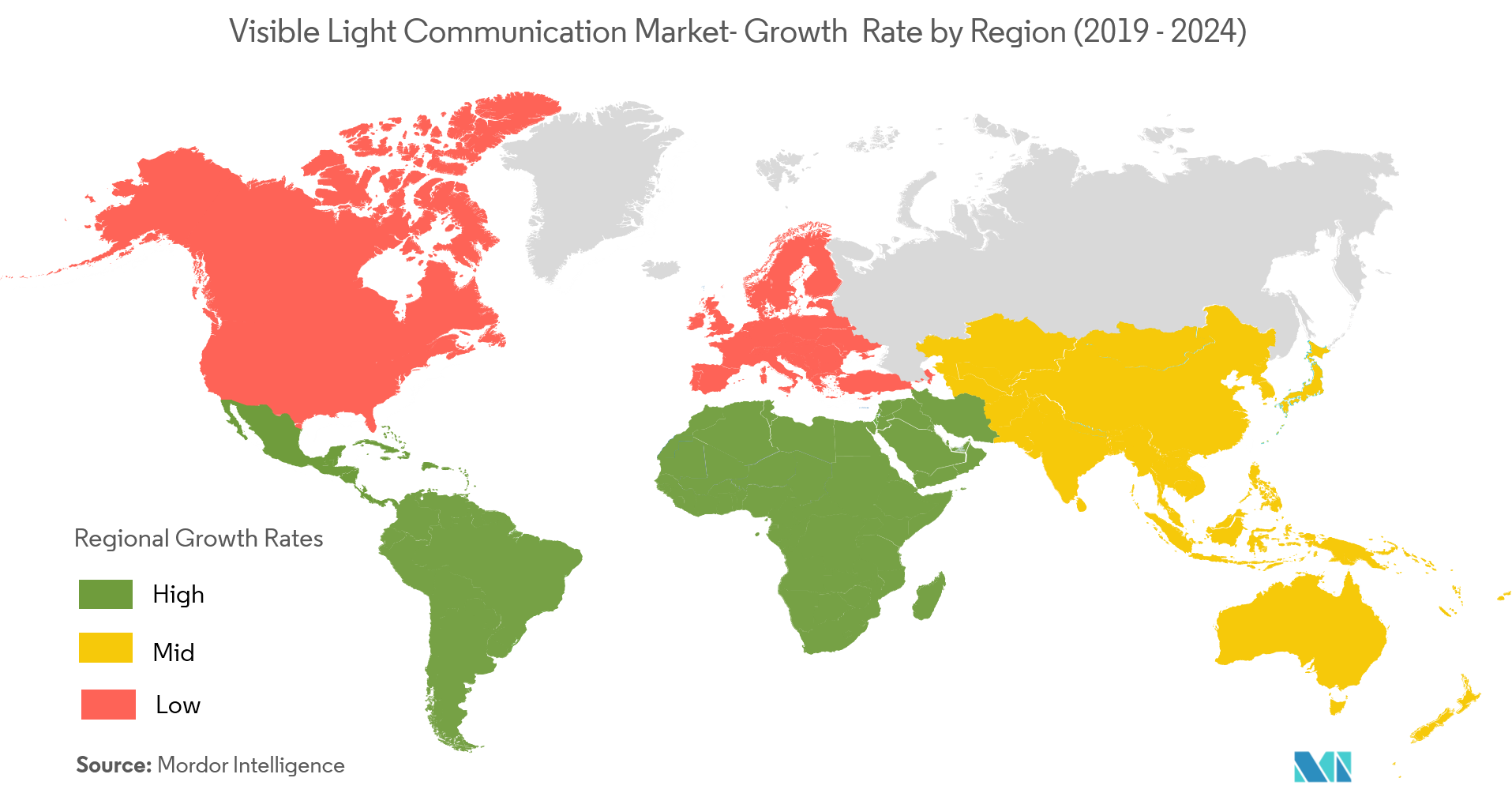Visible Light Communication Market Growth Rate By Region
