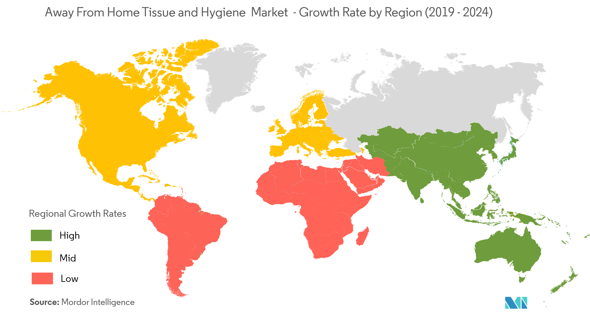Away From Home Tissue and Hygiene Market Growth Rate By Region