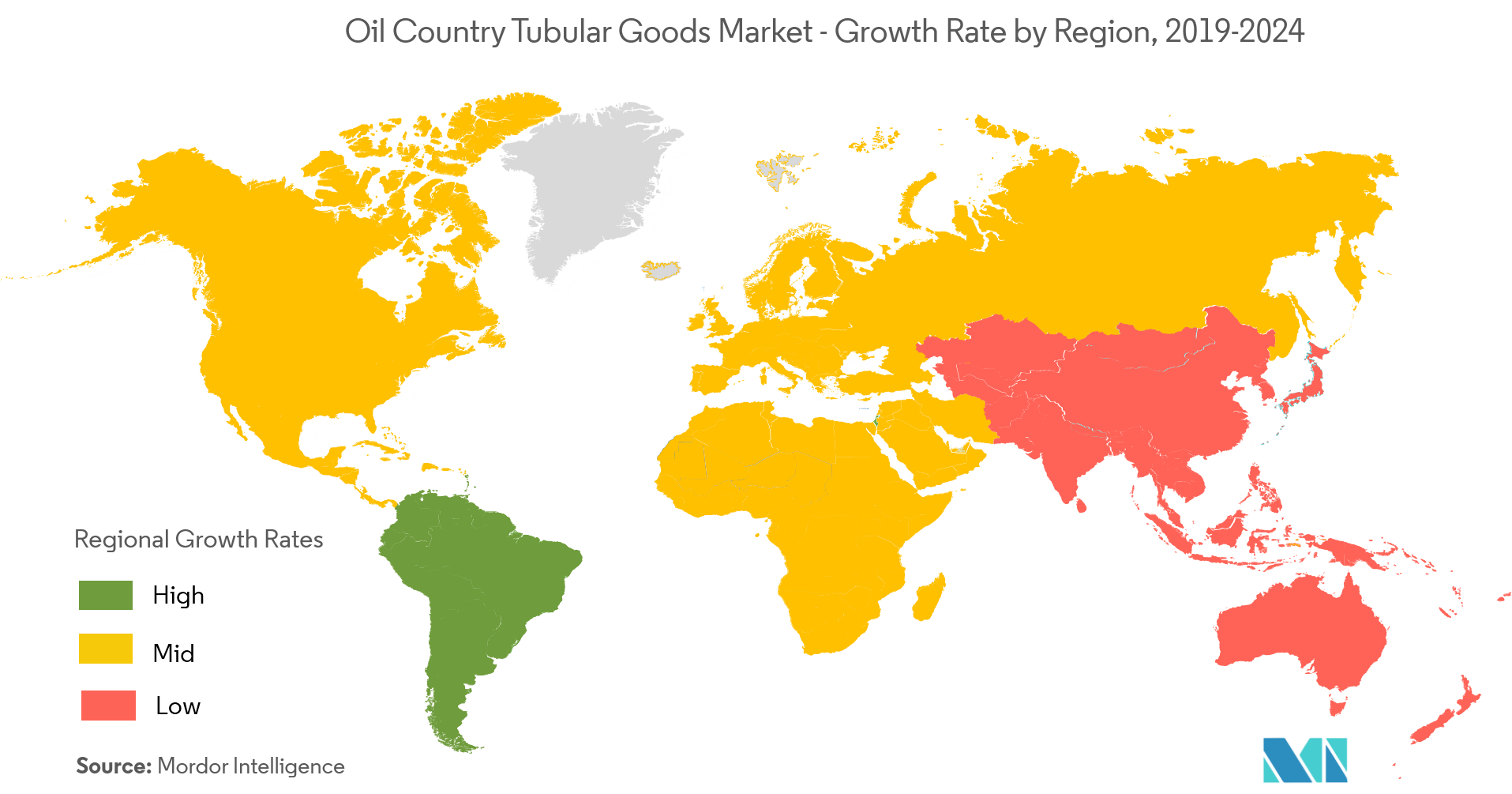 Oil Country Tubular Goods Market - Growth Rate by Region, 2019-2024