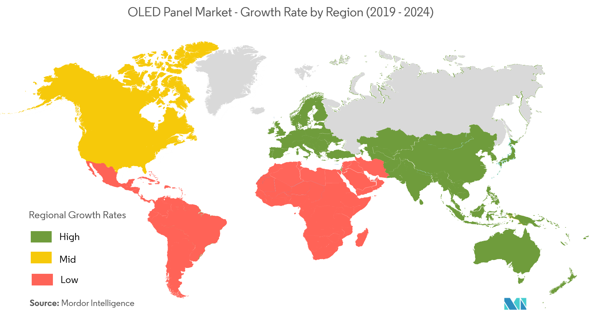 OLED Panel Market Growth Rate By Region